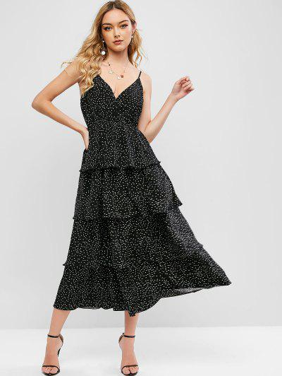 ZAFUL Polka Dot Layered Surplice Cami Dress - Black M