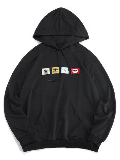 ZAFUL Cartoon Embroidered Pouch Pocket Hoodie - Black L