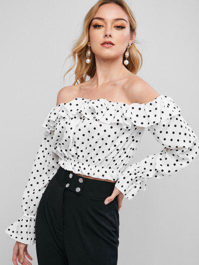 Poet Sleeve Off Shoulder Polka Dot Ruffles Blouse - White M