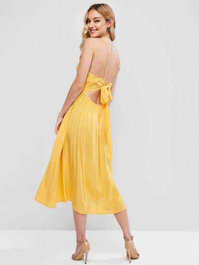 ZAFUL Knotted Back Surplice Cami Dress - Sun Yellow S
