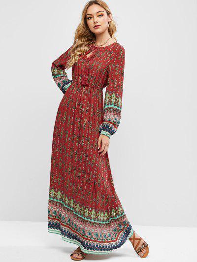 ZAFUL Printed Tassels Bohemian Maxi Dress - Multi-a L