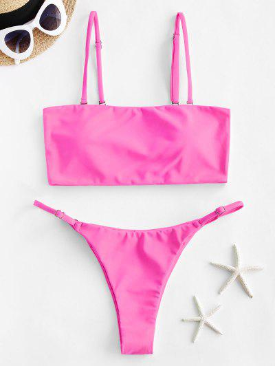 ZAFUL Neon Bandeau Bikini Badebekleidung - Helles Rosa M