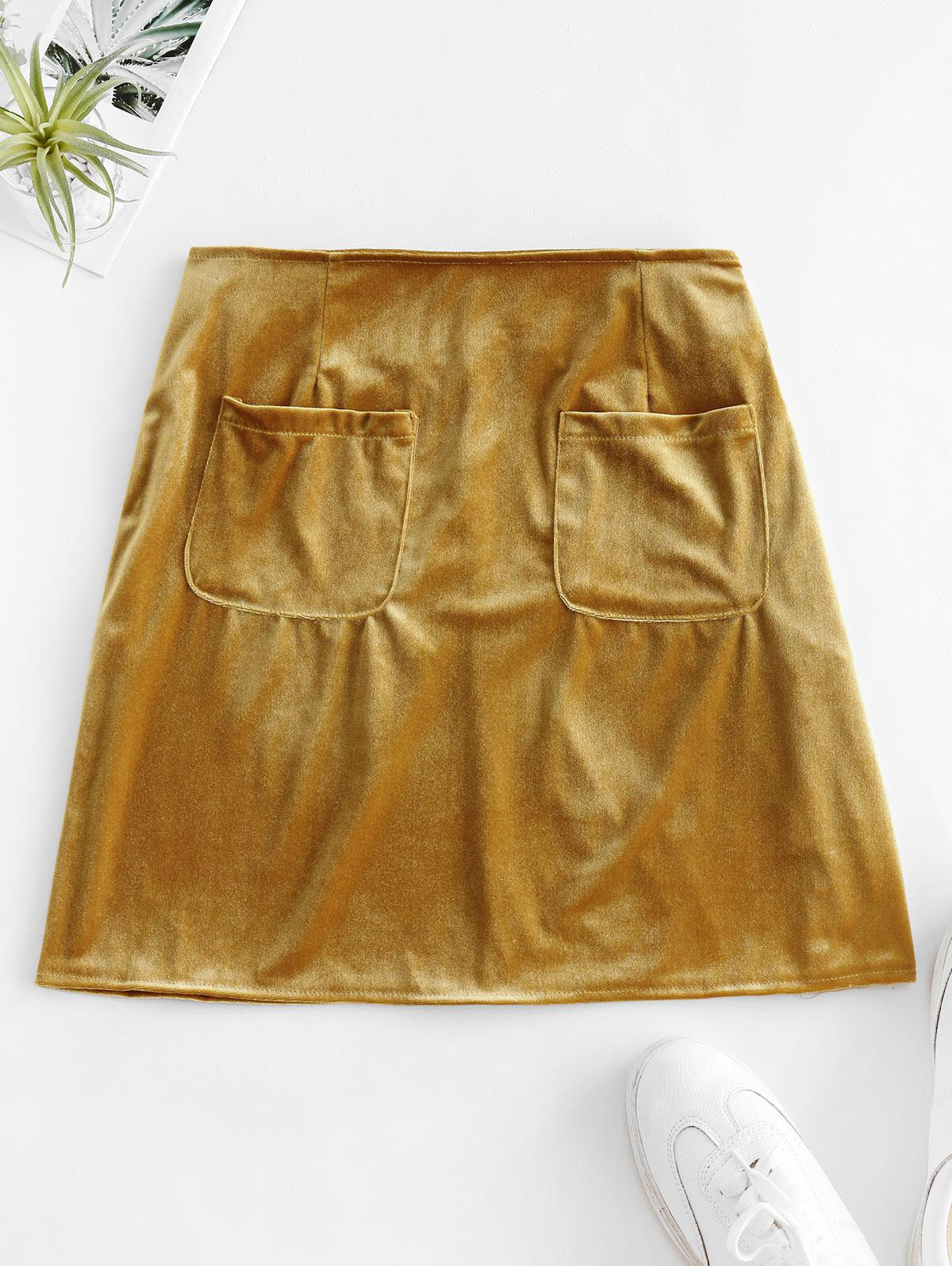 Pockets Velvet A Line Skirt