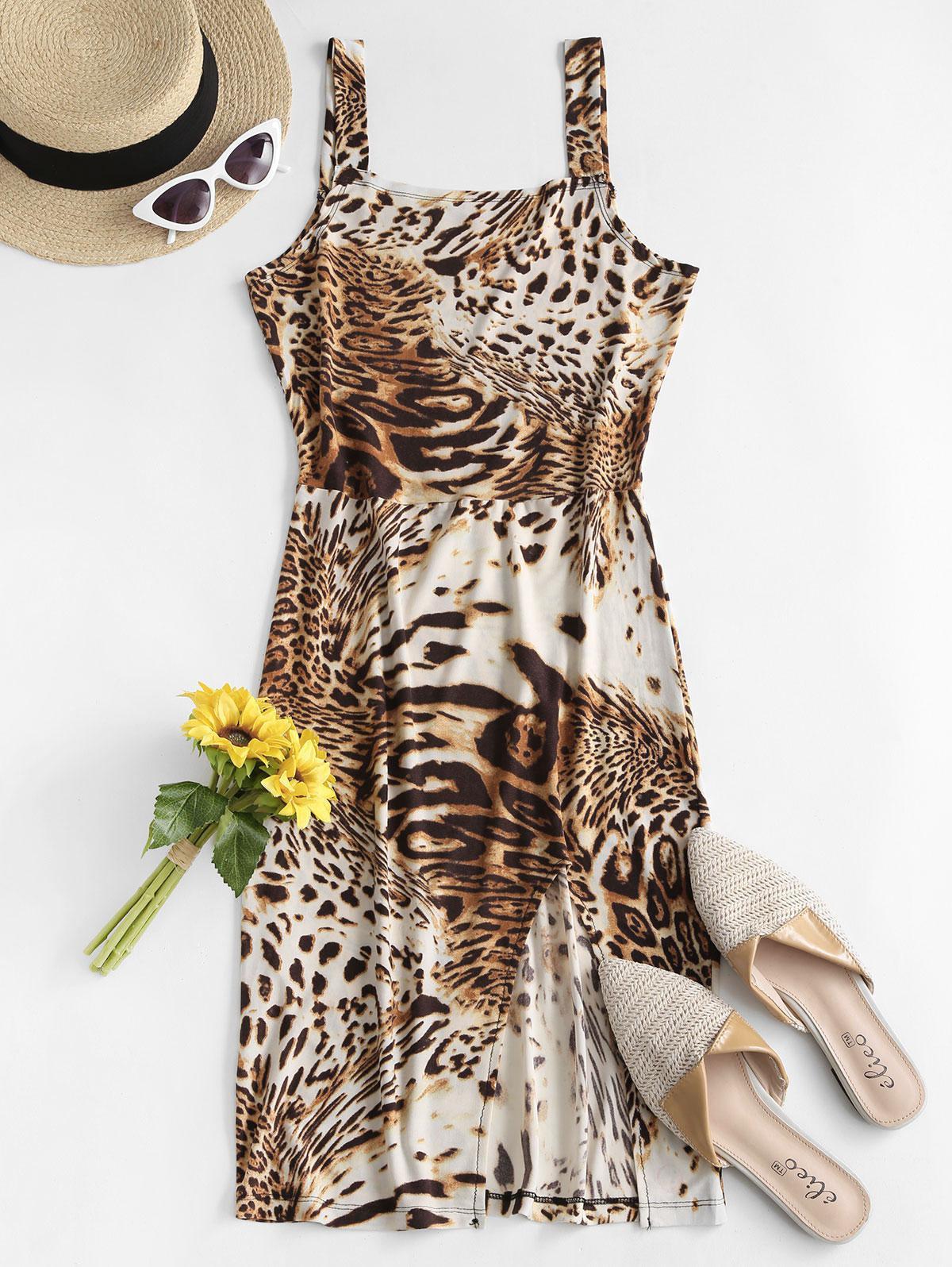 ZAFUL Leopard Slit Tank Dress