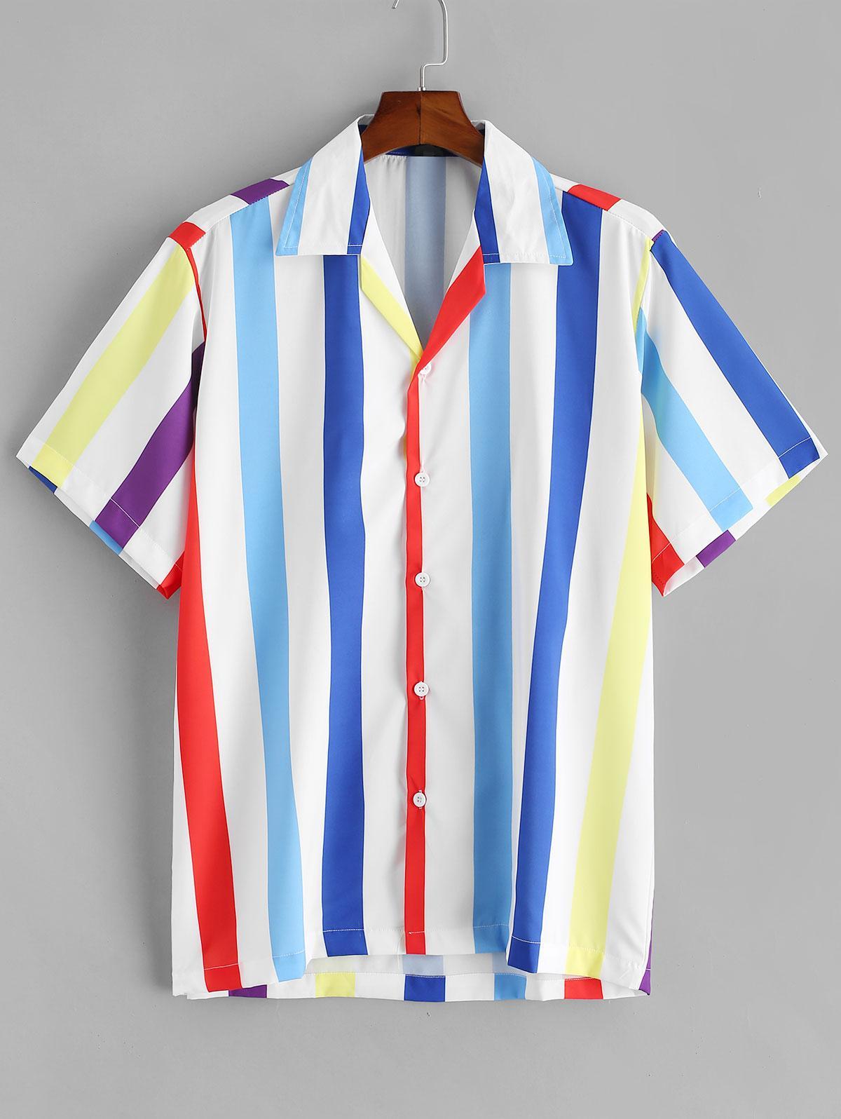 Chemise Colorée Rayée Boutonnée - ZAFUL - Modalova