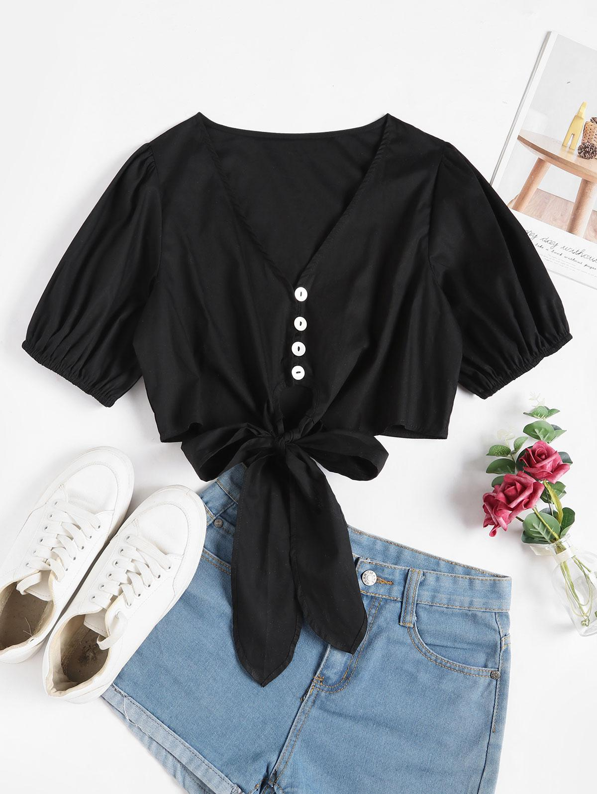 Button Loop Knotted Crop Blouse