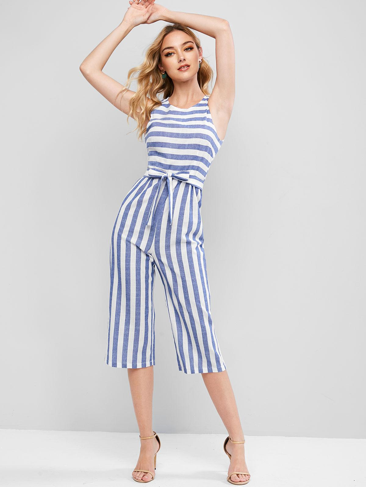 Striped Sleeveless Capri Jumpsuit