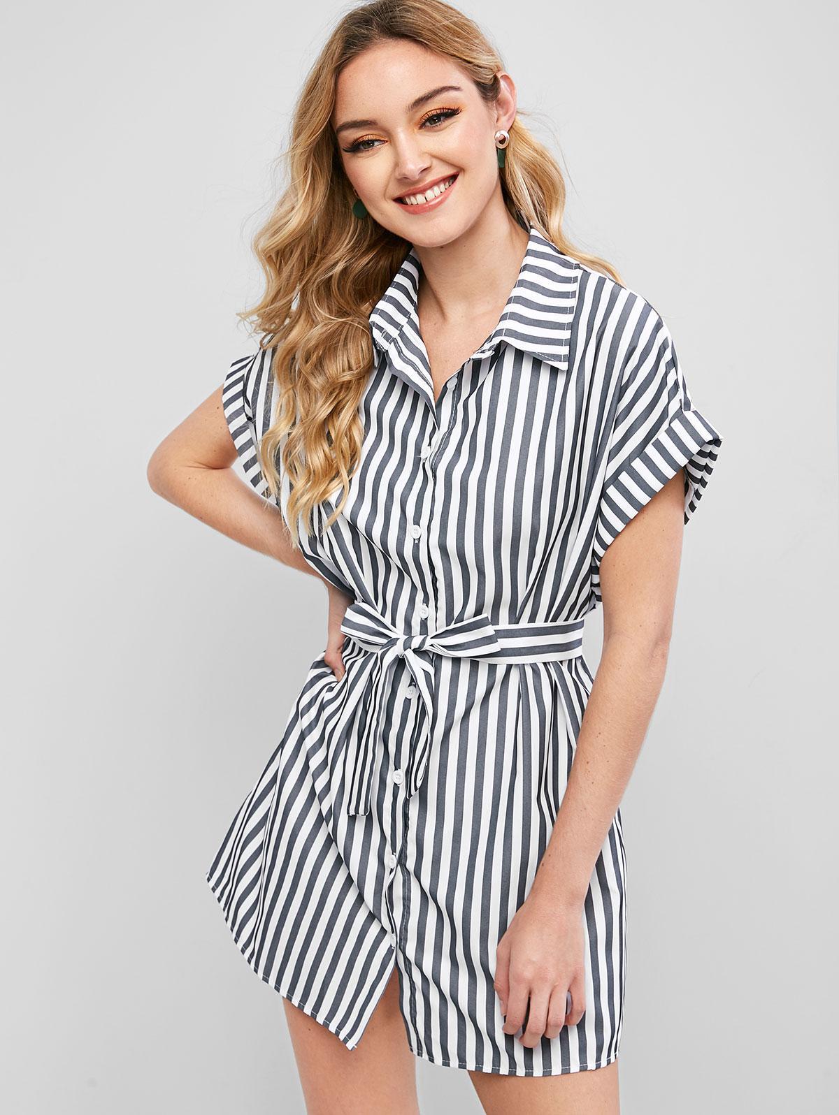 Striped Cuffed Shirt Dress