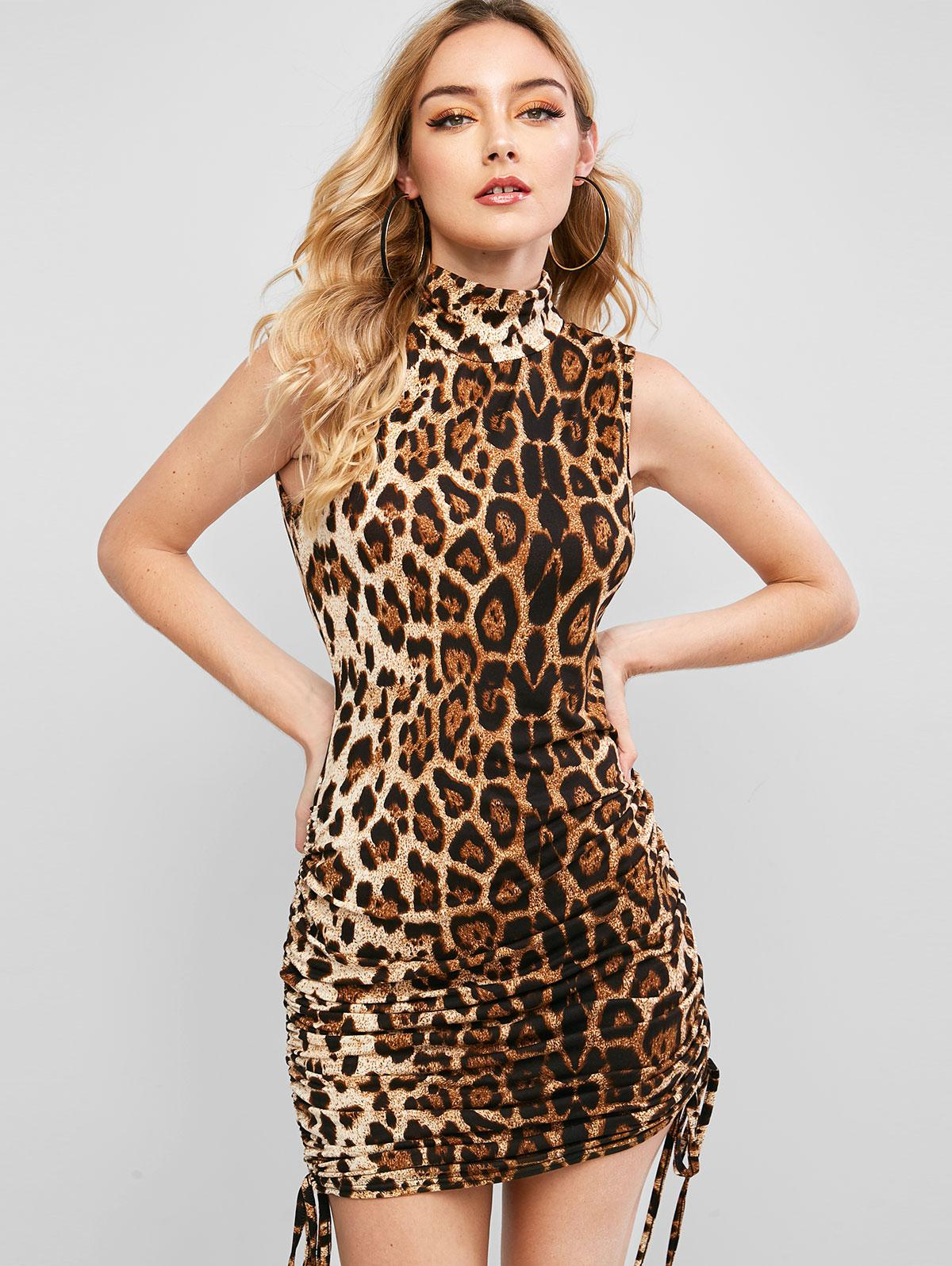 Mock Neck Side Cinched Leopard Bodycon Dress