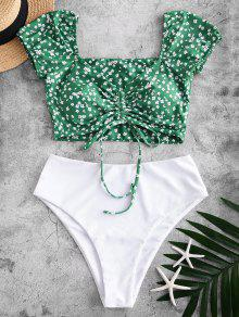 Ditsy Print Two Piece Swimsuit