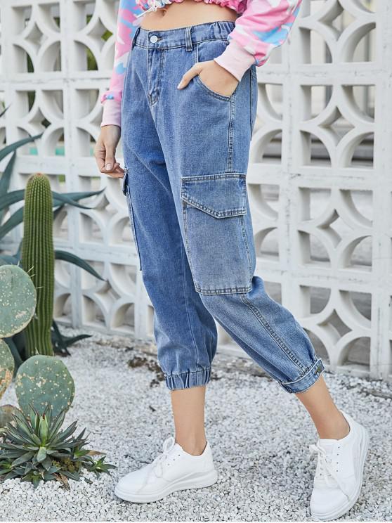 womens Ninth High Waisted Flap Pockets Jogger Jeans - JEANS BLUE S