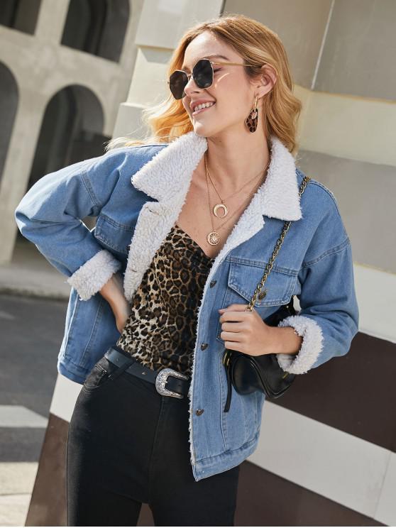 best Flap Pockets Button Up Fur Line Denim Jacket - JEANS BLUE L