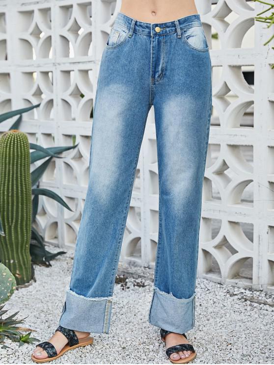 women's Wide Leg High Waisted Cuffed Jeans - BLUE S