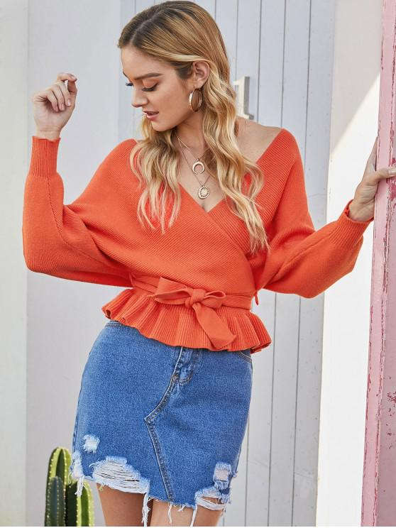 fancy Plunging Batwing Sleeve Peplum Belted Sweater - ORANGE ONE SIZE