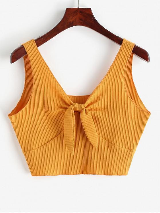 ladies Plunging Neck Ribbed Crop Tank Top - BRIGHT YELLOW XL