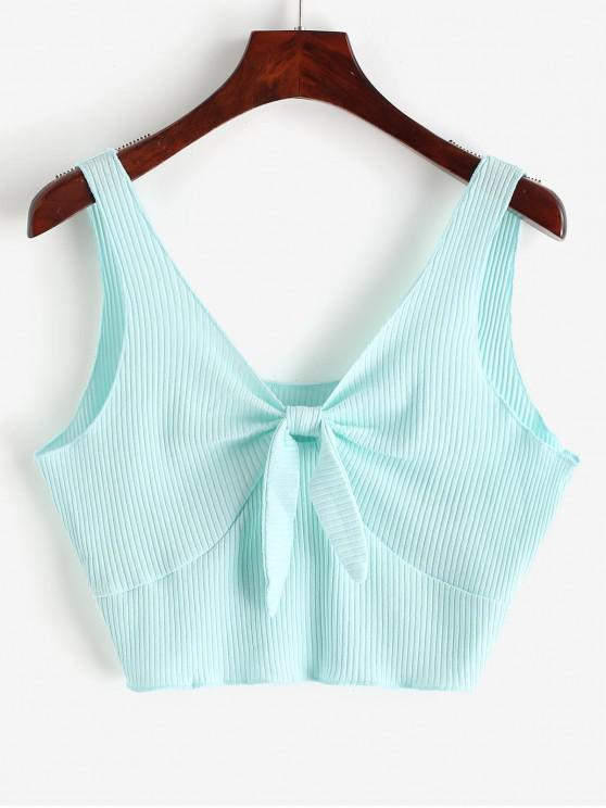 sale Plunging Neck Ribbed Crop Tank Top - LIGHT BLUE M