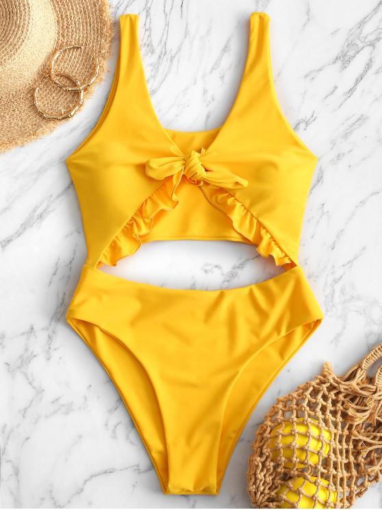 women ZAFUL Knot Ruffle Cutout One-piece Swimsuit - YELLOW S