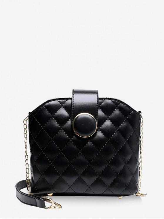 lady Quilted Leather Chain Bucket Sling Bag - BLACK