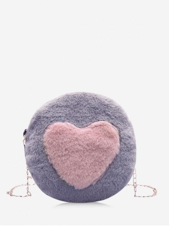 sale Faux Fur Heart Graphic Round Crossbody Bag - GRAY