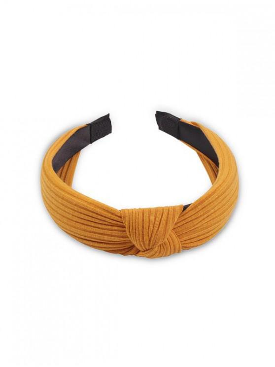 صلب النسيج واسعة الشعر Hairband - الأصفر