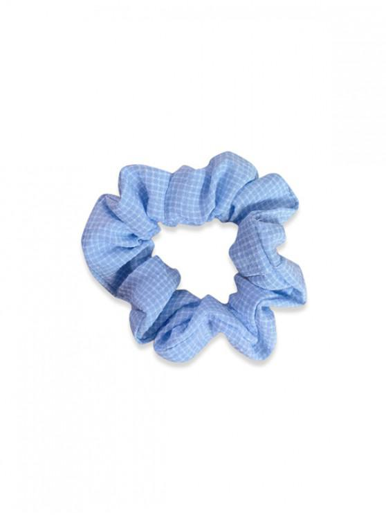 shop Plaid Printed Fabric Scrunchy - LIGHT BLUE