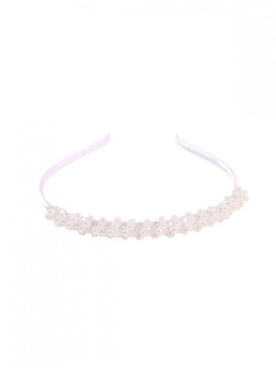 fashion Beaded Faux Pearl Hairband - WHITE