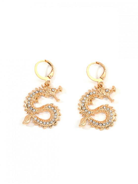 fashion Rhinestone Dragon Shape Earrings - GOLD