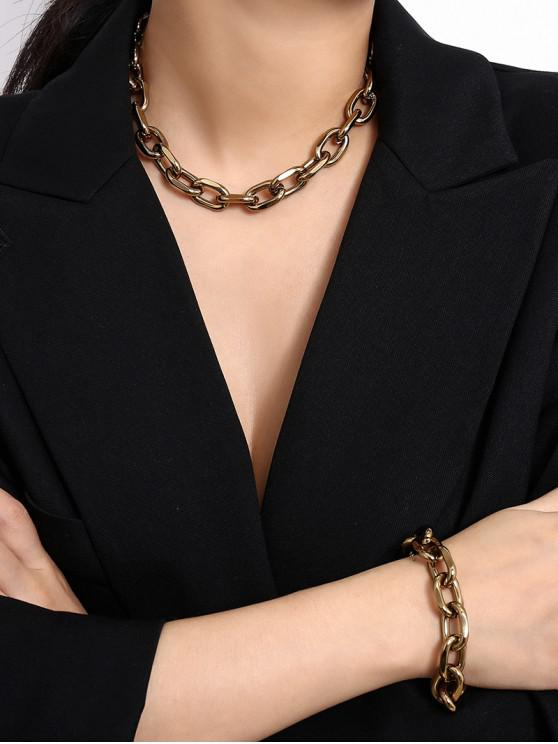 outfit Simple Chain Bracelet And Necklace Set - GOLD