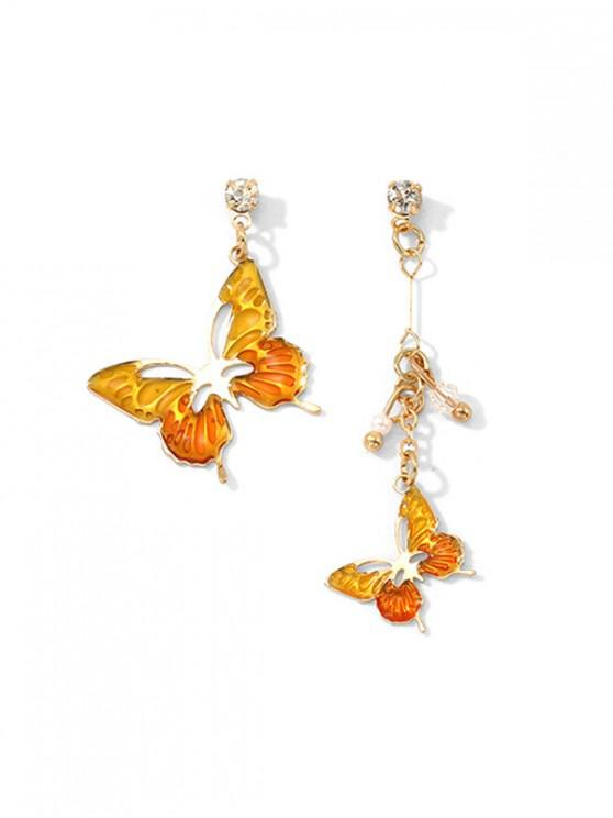 hot Butterfly Drop Asymmetrical Earrings - ORANGE