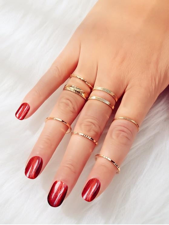 womens Embossed Alloy Rings Set - GOLD