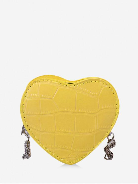 lady Heart Shape Chain Crossbody Bag - BEE YELLOW