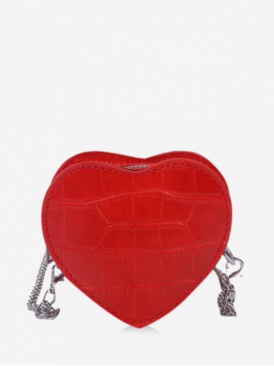 women's Heart Shape Chain Crossbody Bag - LAVA RED