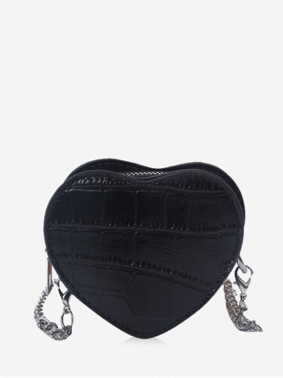 best Heart Shape Chain Crossbody Bag - BLACK