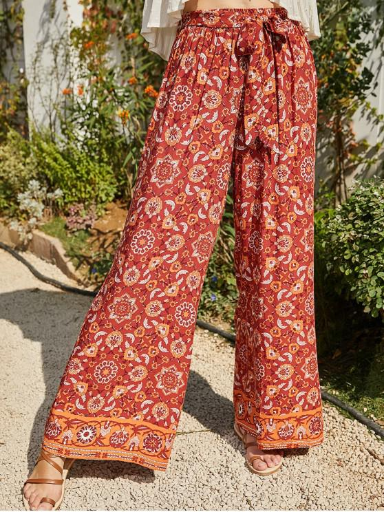 outfit Printed Belted Bohemian Wide Leg Pants - MULTI M