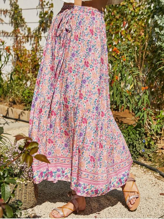 trendy Floral Print Slit Maxi Skirt - MULTI S