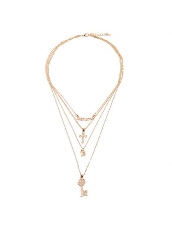 buy Key Lock Cross Shape Tiered Pendant Necklace - GOLD