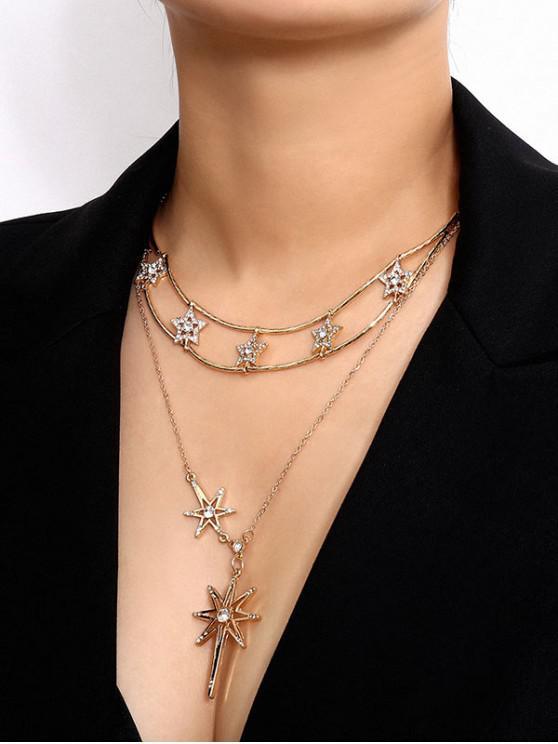 women's Rhinestone Star Chain Necklace - GOLD