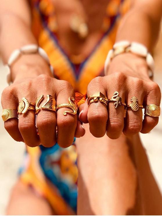 best Animal Pineapple Wide Finger Rings Set - GOLD