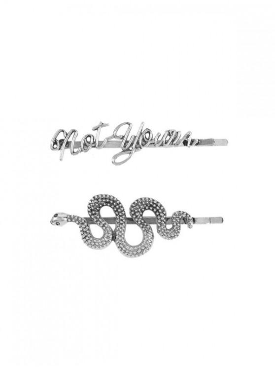 womens Snake and Letter Shape Alloy Hair Grips Set - SILVER