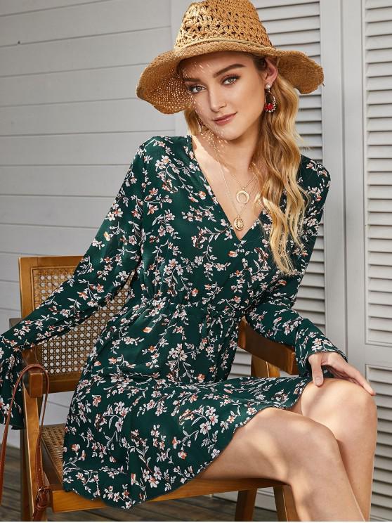 ladies Drawstring Ditsy Floral Flare Sleeve Mini Dress - DEEP GREEN S