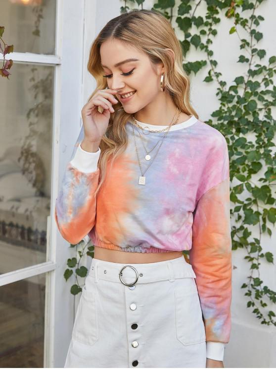 Pullover ritagliata Tie Dye Felpa - Multi Colori-E M