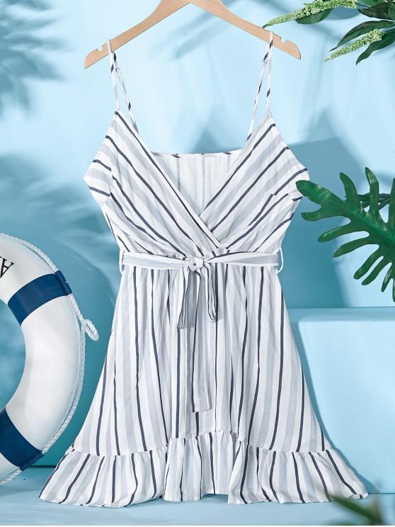 best ZAFUL Striped Belted Surplice Cami Dress - WHITE M