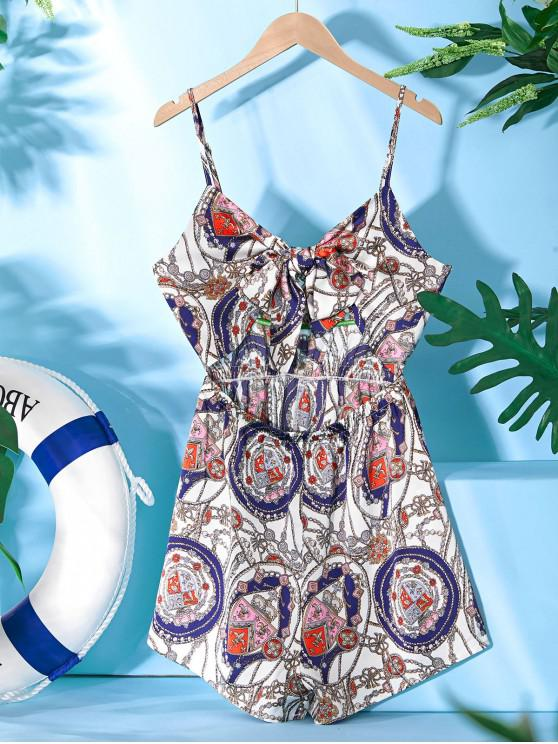 womens ZAFUL Sailing Rope Anchor Print Knotted Romper - WHITE XL