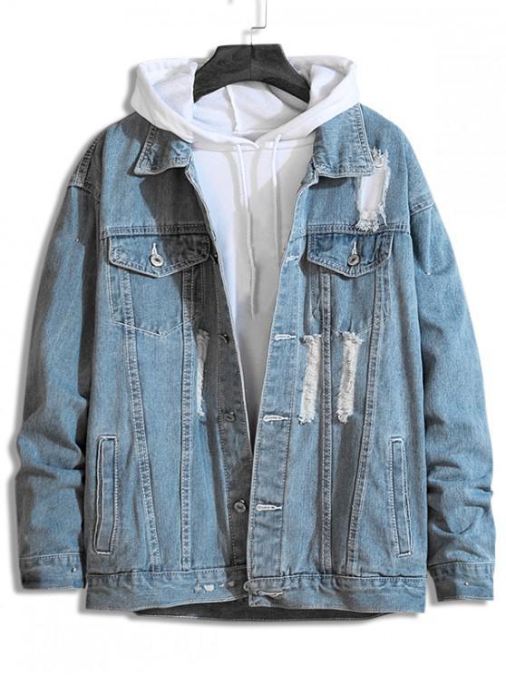 trendy Distressed Destroy Wash Stitching Denim Jacket - LIGHT BLUE 2XL