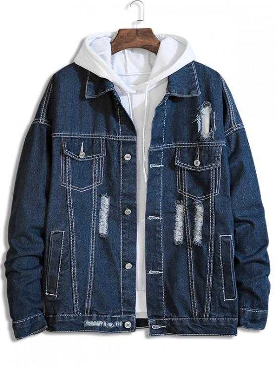 affordable Distressed Destroy Wash Stitching Denim Jacket - DEEP BLUE 2XL