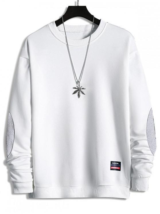 shops Elbow Patchwork Applique Crew Neck Sweatshirt - WHITE XL