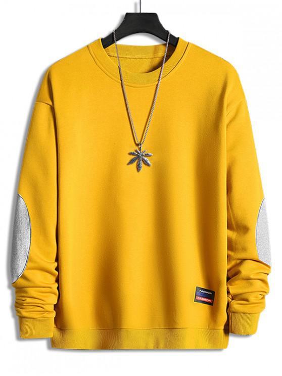 womens Elbow Patchwork Applique Crew Neck Sweatshirt - SUN YELLOW XL
