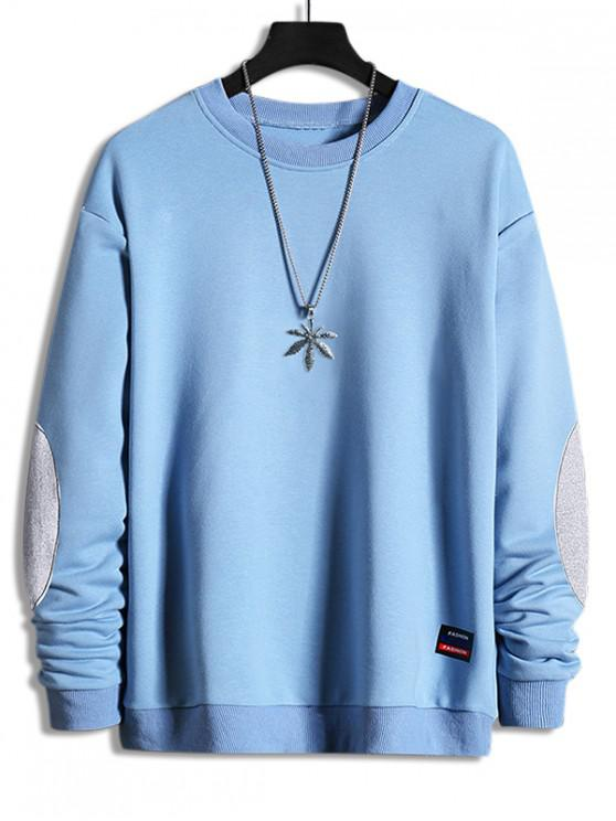 women Elbow Patchwork Applique Crew Neck Sweatshirt - JEANS BLUE XS