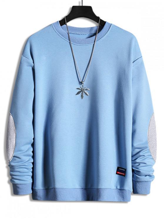 best Elbow Patchwork Applique Crew Neck Sweatshirt - JEANS BLUE XL