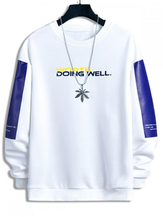 new Worth Doing Well Letter Colorblock Panel Sweatshirt - WHITE S